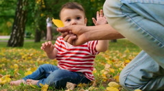 Baby Discovering Nature Stock Footage