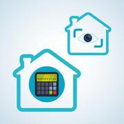 Smart house design. home icon. White background  , vector - stock illustration