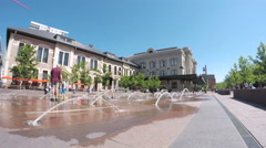 Urban plaza with jet fountains at front of Union Station in Denver, Colorado. Stock Footage