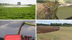 Tractor fertilize plow field. Combine harvest wheat. Collage Stock Footage