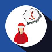 Winter design. Sport icon. Colorful illustration - stock illustration