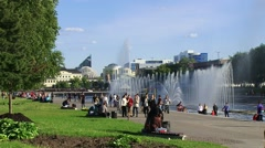 Plotinka - central square with fountains Yekaterinburg Stock Footage