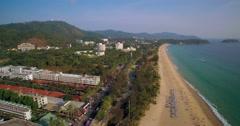 Karon Beach and Hotels in Phuket Thailand Aerial Pan Shot Stock Footage