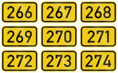Collection of Numbered highway shields of German Bundesstrassen (Federal road Stock Illustration