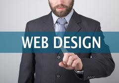 technology, internet and networking concept - Businessman presses web design - stock photo