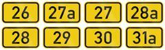 Collection of Numbered highway shields of German Bundesstrassen (Federal road - stock illustration