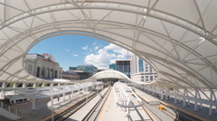 View of tracks of the Denver Union Station Stock Footage