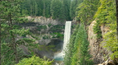 Spectacular waterfall view surrounded by spruce trees Stock Footage