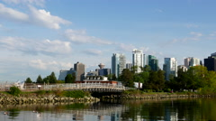 One side view of the Vancouver downtown skyline and waterfront. Stock Footage