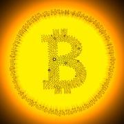 Bitcoin symbol coin - stock illustration