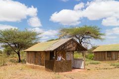Traditional african safari tourist lodge. - stock photo