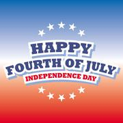 Happy Fourth of July America greeting card with red and blue background Stock Illustration