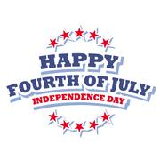Happy Fourth of July America logo isolated on white background - stock illustration