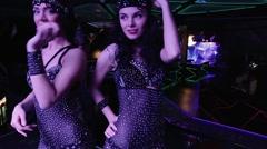 Dancing girl in costume burlesque - stock footage