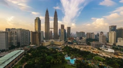 Sunset over KLCC Park Time Lapse Brush Stroke Effect - stock footage