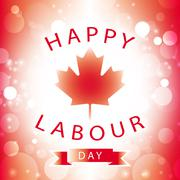 Happy Labour Day Canada greeting card with canadian flag abstract background Stock Illustration
