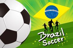 Brazil soccer background - soccer player and ball on green field - stock illustration