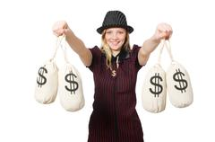 Woman with money sacks on white - stock photo