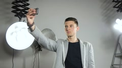 Young attractive guy doing selfie. - stock footage