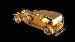 Gold retro car Stock Footage