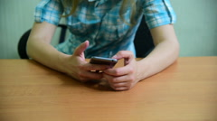 Workplace woman using mobile phone at work Stock Footage