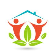 Green house logo. Happy family icon, eco lover - stock illustration