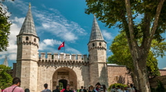 Istanbul. Topkapi palace gate. Gate of Salutation. Vertical pan Stock Footage