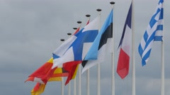 Flags of many countries waving in the wind Stock Footage