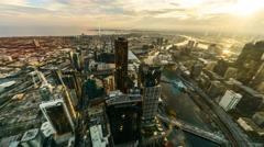 Sunset Aerial view of Melbourne Cityscape, Time lapse brush stroke effect Stock Footage