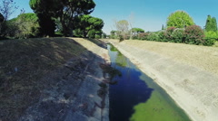 Aerial Video drone of a drainage ditch. N. Stock Footage