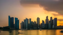 Singapore City Skyline Sunset. Time Lapse Brush Stroke Effect Stock Footage
