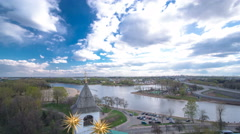 Panorama of the city of Yaroslavl timelapse from the bell tower of the Spaso Stock Footage