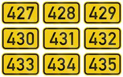 Collection of Numbered highway shields of German Bundesstrassen (Federal road - stock illustration
