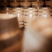 Winemaker barrels moving up or down by rolling on ground Stock Photos