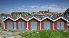 Fishing village Fjallbacka on the Swedish west coast (district Bohuslan). Stock Footage