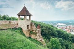 Fortification wall in castle Trenchin, Slovak Republic Stock Photos