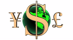 Animated 3d world golden currencies rotate around the green Earth. - stock footage