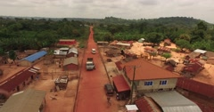 Africa Aerial Ghana small village street 4K Stock Footage