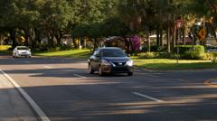 4K Orlando Tourist Traffic Golden Hour Wide Shot Stock Footage