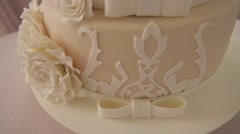Multi-tiered wedding cakes, decorated cake Stock Footage