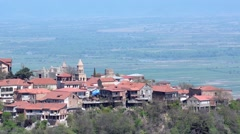 View of the town of Sighnaghi and Alazani Valley. Clear sunny weather - stock footage
