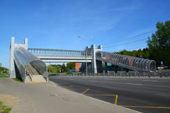 Zelenograd, Russia - May 09, 2016. above ground pedestrian crossing in Sunny - stock photo