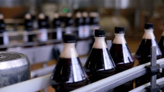 Conveyor for the production of carbonated fresh drink - stock footage