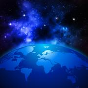 Creative abstract global communication scientific concept: space view of Earth - stock illustration