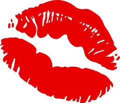 Big red lips track on white background Stock Illustration