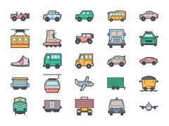 Transportation Illustration Icons - stock illustration