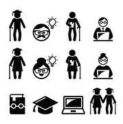 University of the Third Age, Senior education icons set - stock illustration