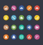 Glyphs Style Colored Icons Set Stock Illustration
