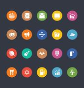 Glyphs Style Colored UI Icons Pack - stock illustration