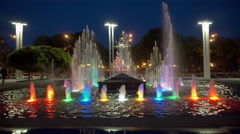 A Large Fountain With Night Illumination Stock Footage